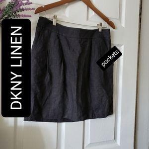 100% linen DKNY high waist skirt size 10